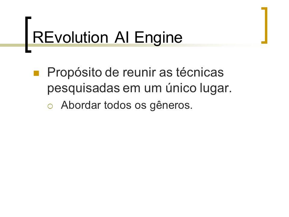 REvolution AI Engine Propósito de reunir as técnicas pesquisadas em um único lugar. Abordar todos os gêneros.