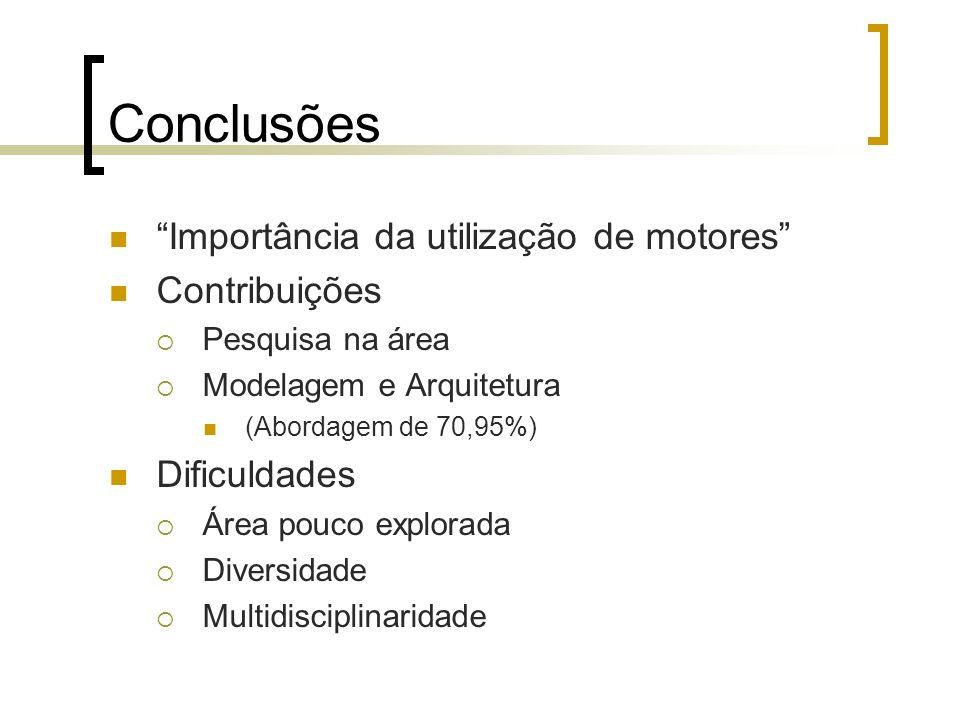 Conclusões Importância da utilização de motores Contribuições Pesquisa na área Modelagem e Arquitetura (Abordagem de 70,95%) Dificuldades Área pouco e