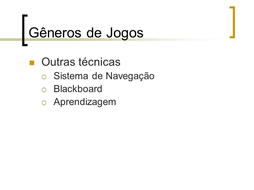 Gêneros de Jogos Outras técnicas Sistema de Navegação Blackboard Aprendizagem
