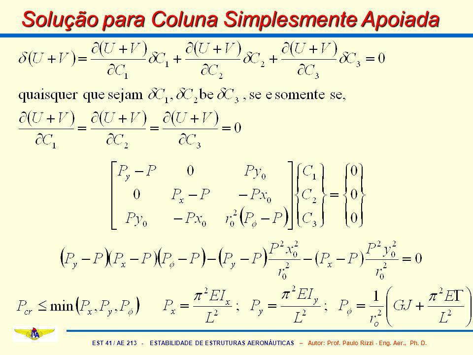 EST 41 / AE 213 - ESTABILIDADE DE ESTRUTURAS AERONÁUTICAS – Autor: Prof.