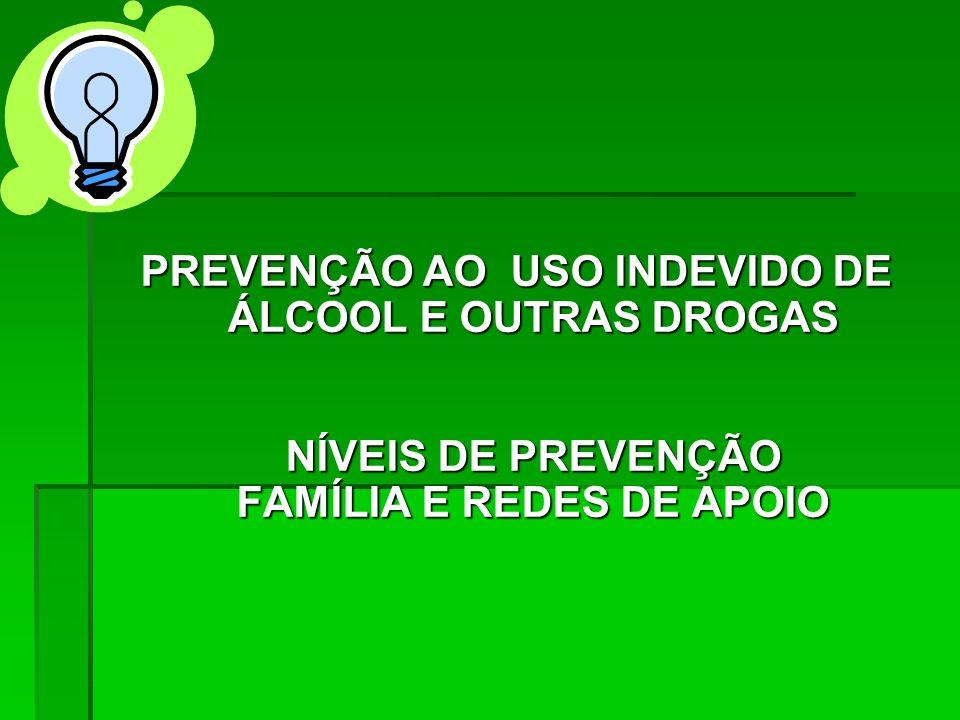 PREVENÇÃO AO USO INDEVIDO DE ÁLCOOL E OUTRAS DROGAS NÍVEIS DE PREVENÇÃO FAMÍLIA E REDES DE APOIO
