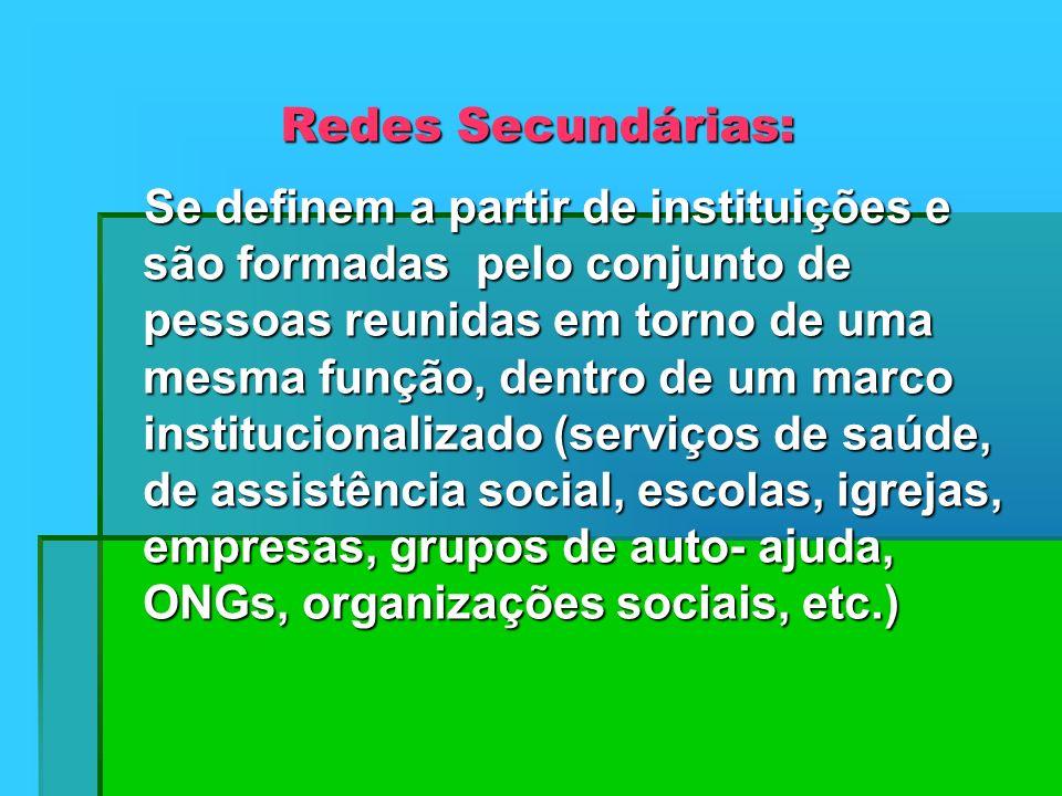 Redes Secundárias: Se definem a partir de instituições e são formadas pelo conjunto de pessoas reunidas em torno de uma mesma função, dentro de um mar