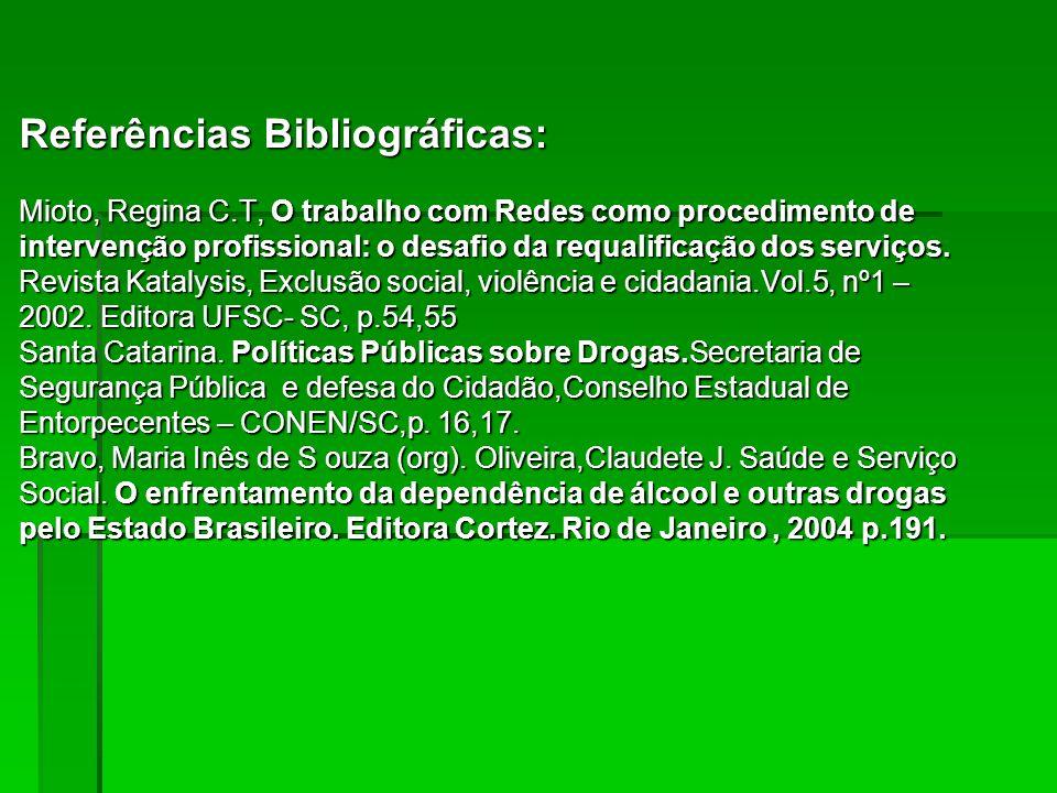 Referências Bibliográficas: Mioto, Regina C.T, O trabalho com Redes como procedimento de intervenção profissional: o desafio da requalificação dos ser
