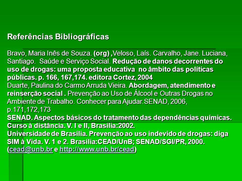 Referências Bibliográficas Bravo, Maria Inês de Souza. (org),Veloso, Laís. Carvalho, Jane. Luciana, Santiago. Saúde e Serviço Social. Redução de danos