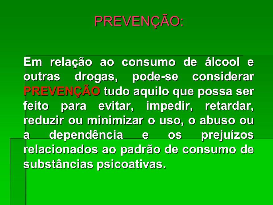 PREVENÇÃO: Em relação ao consumo de álcool e outras drogas, pode-se considerar PREVENÇÃO tudo aquilo que possa ser feito para evitar, impedir, retarda