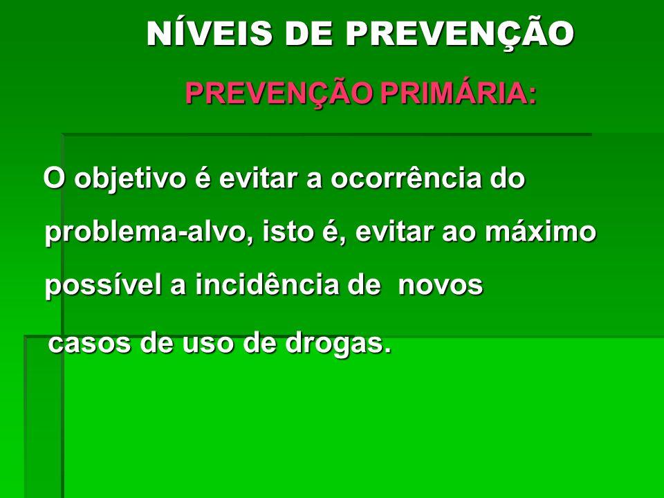 NÍVEIS DE PREVENÇÃO NÍVEIS DE PREVENÇÃO PREVENÇÃO PRIMÁRIA: PREVENÇÃO PRIMÁRIA: O objetivo é evitar a ocorrência do problema-alvo, isto é, evitar ao m