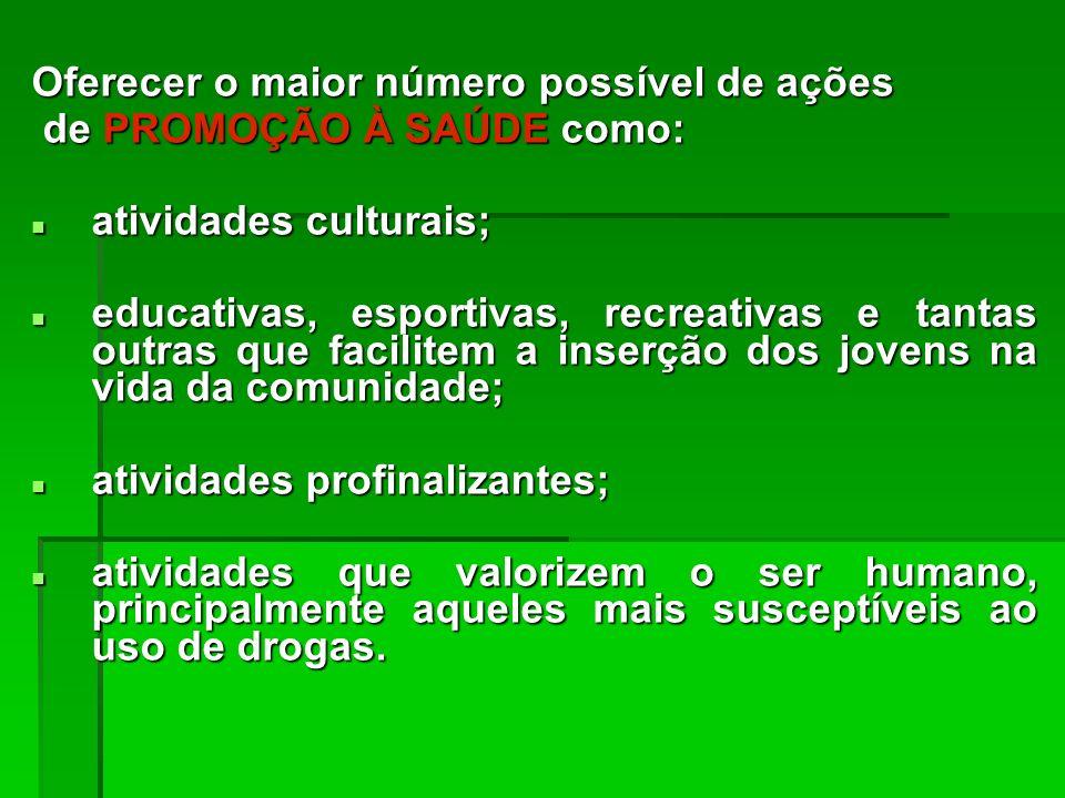 Oferecer o maior número possível de ações de PROMOÇÃO À SAÚDE como: de PROMOÇÃO À SAÚDE como: atividades culturais; atividades culturais; educativas,