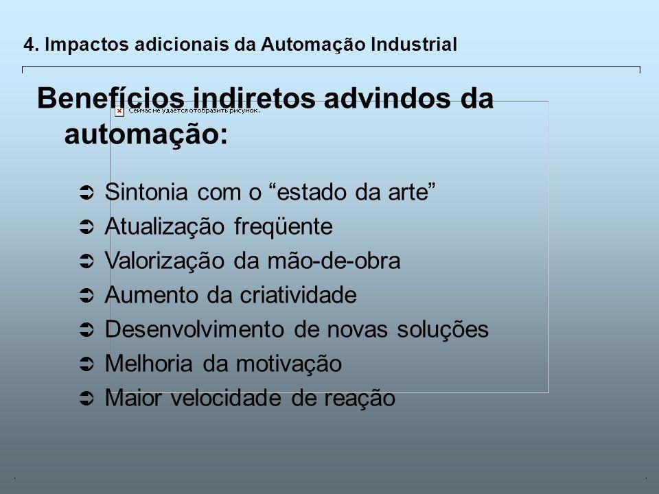 Universidade Católica de GoiásFevereiro/2003 18 4. Impactos adicionais da Automação Industrial Benefícios indiretos advindos da automação: Sintonia co