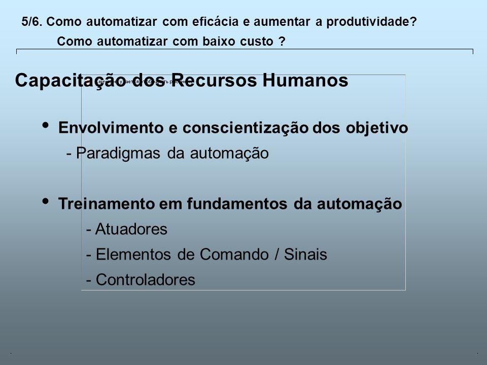 Universidade Católica de GoiásFevereiro/2003 25 Capacitação dos Recursos Humanos Envolvimento e conscientização dos objetivo - Paradigmas da automação