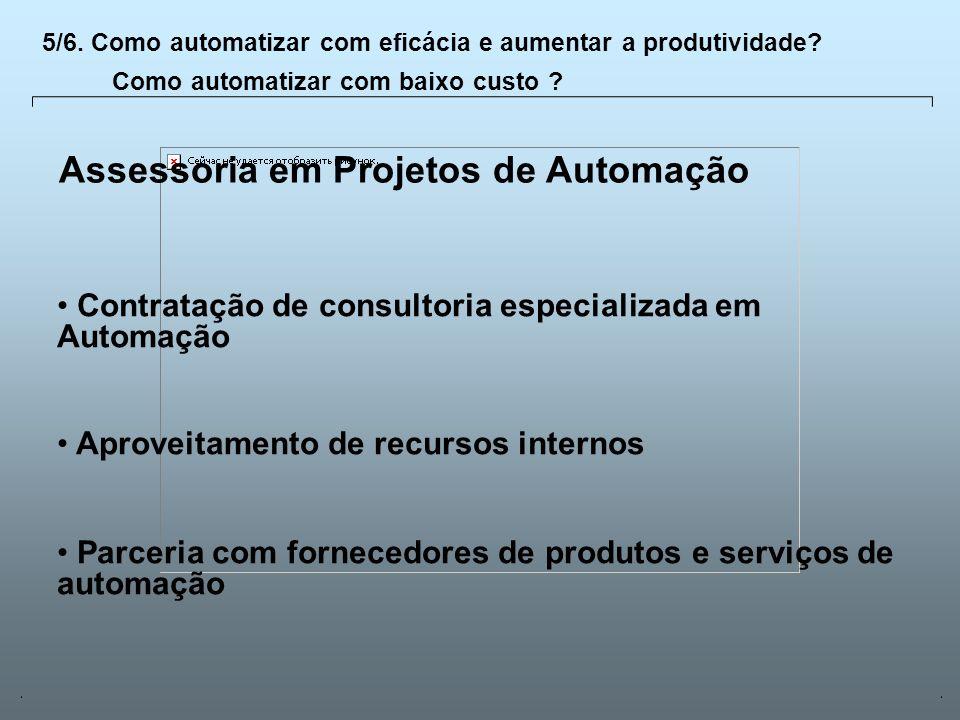 Universidade Católica de GoiásFevereiro/2003 26 Assessoria em Projetos de Automação Contratação de consultoria especializada em Automação Aproveitamen