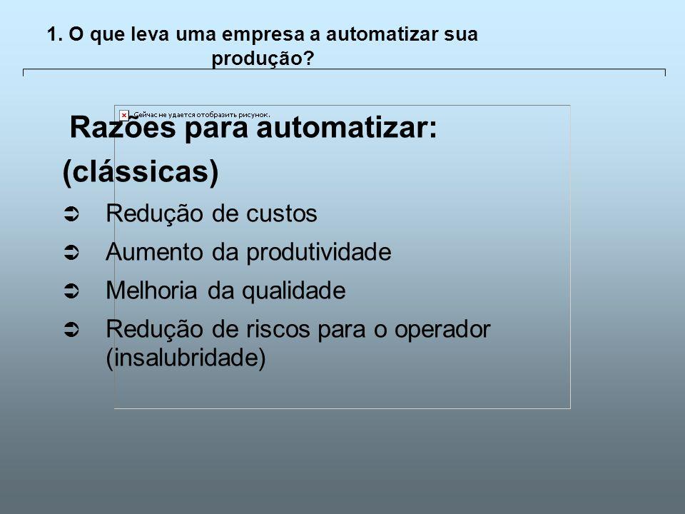 Universidade Católica de GoiásFevereiro/2003 8 1. O que leva uma empresa a automatizar sua produção? Razões para automatizar: (clássicas) Redução de c