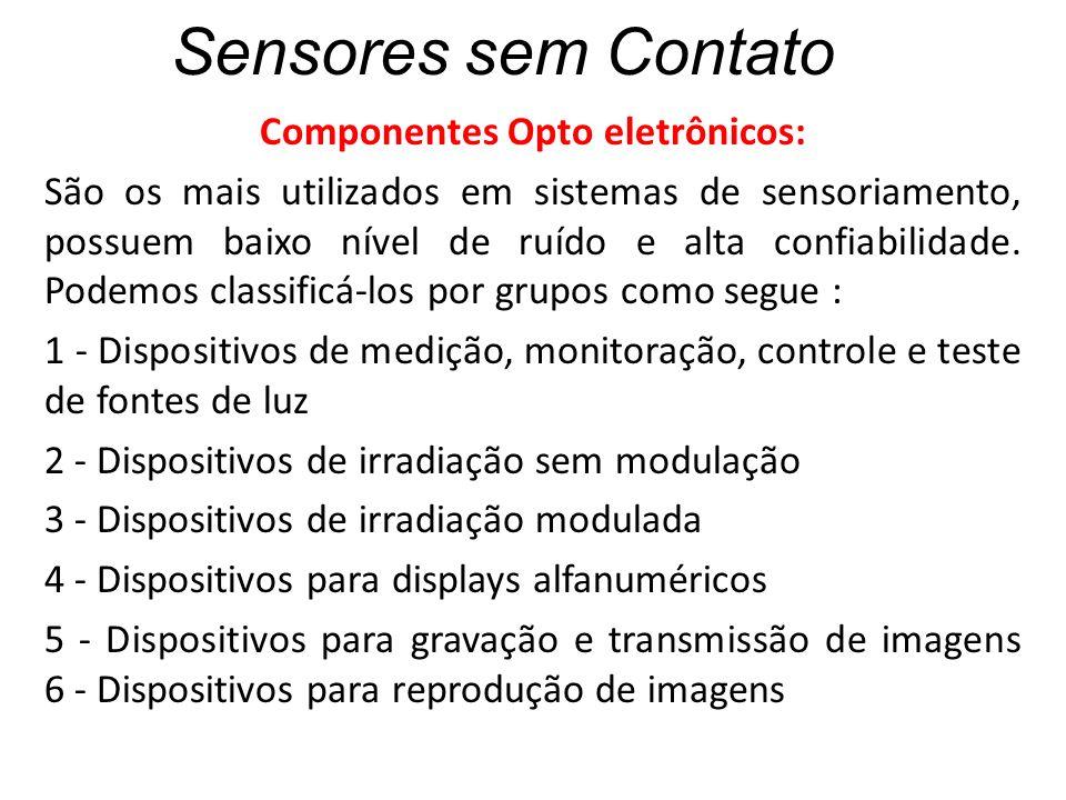 Sensores sem Contato Componentes Opto eletrônicos: São os mais utilizados em sistemas de sensoriamento, possuem baixo nível de ruído e alta confiabili