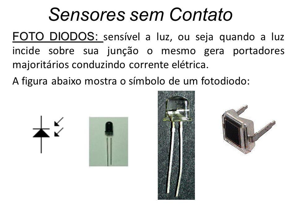 Sensores sem Contato FOTO DIODOS: FOTO DIODOS: sensível a luz, ou seja quando a luz incide sobre sua junção o mesmo gera portadores majoritários condu