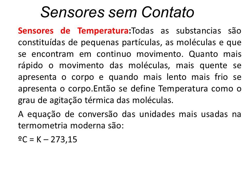 Sensores sem Contato Sensores de Temperatura:Todas as substancias são constituídas de pequenas partículas, as moléculas e que se encontram em continuo