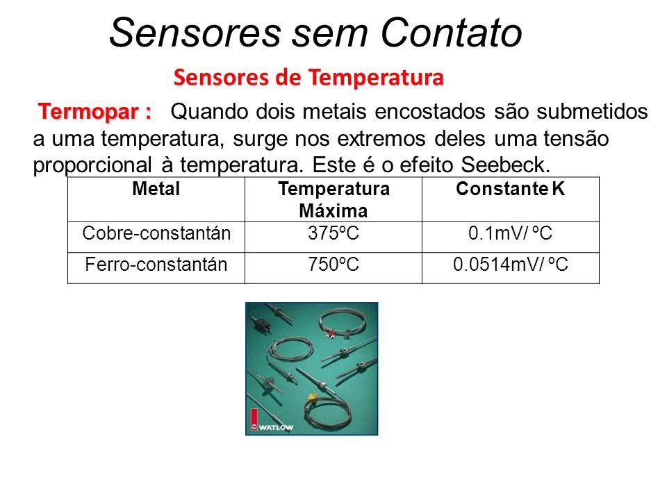 Sensores sem Contato Sensores de Temperatura Termopar : Termopar : Quando dois metais encostados são submetidos a uma temperatura, surge nos extremos