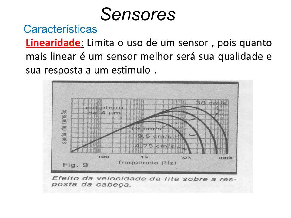 Sensores Linearidade: Limita o uso de um sensor, pois quanto mais linear é um sensor melhor será sua qualidade e sua resposta a um estimulo. Caracterí