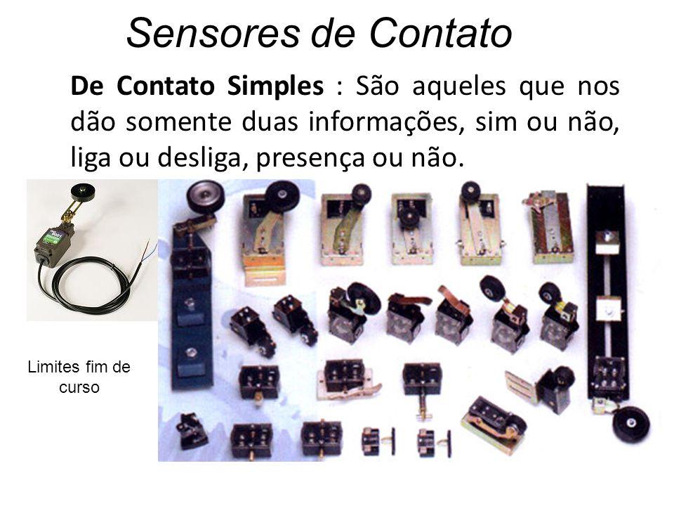 Sensores de Contato De Contato Simples : São aqueles que nos dão somente duas informações, sim ou não, liga ou desliga, presença ou não. Limites fim d