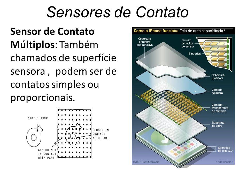 Sensores de Contato Sensor de Contato Múltiplos: Também chamados de superfície sensora, podem ser de contatos simples ou proporcionais.