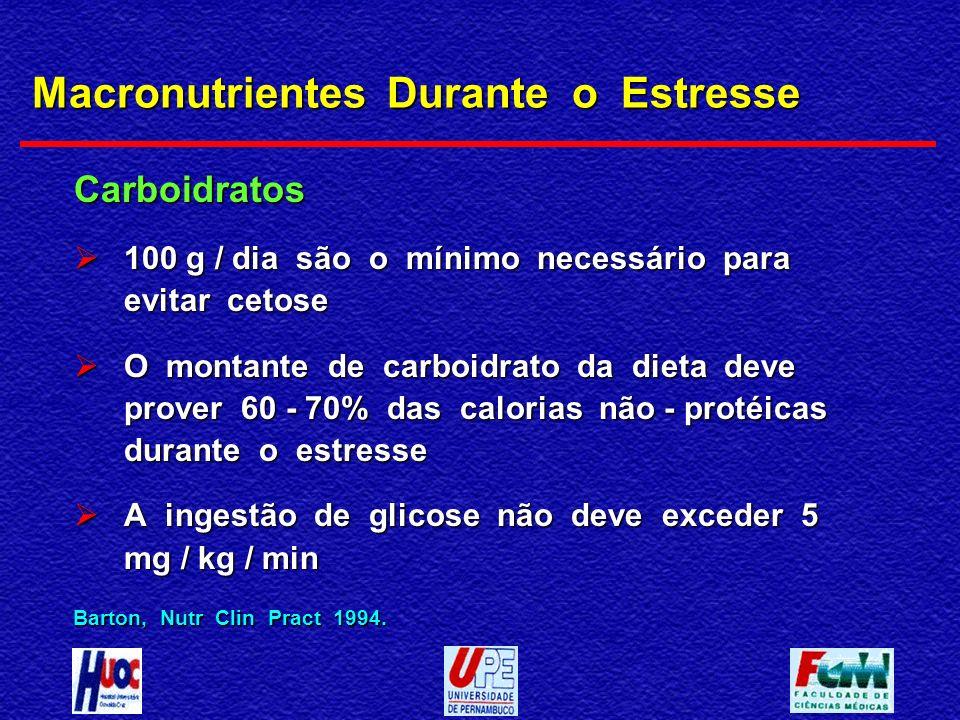 Macronutrientes Durante o Estresse Carboidratos 100 g / dia são o mínimo necessário para evitar cetose 100 g / dia são o mínimo necessário para evitar