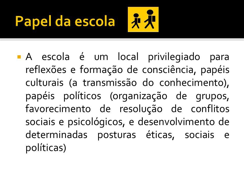 A escola é um local privilegiado para reflexões e formação de consciência, papéis culturais (a transmissão do conhecimento), papéis políticos (organiz
