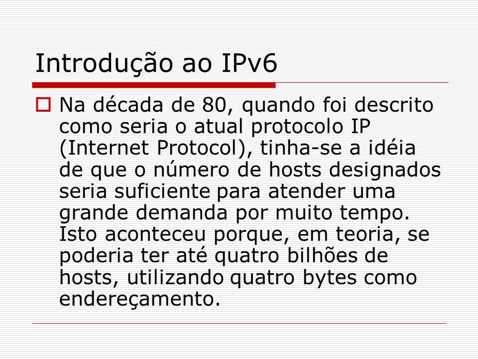 Introdução ao IPv6 Atualmente não só empresas que querem implantar a Internet em suas dependências, como também escolas e universidades têm problemas para conseguir até mesmo uma faixa de endereços.