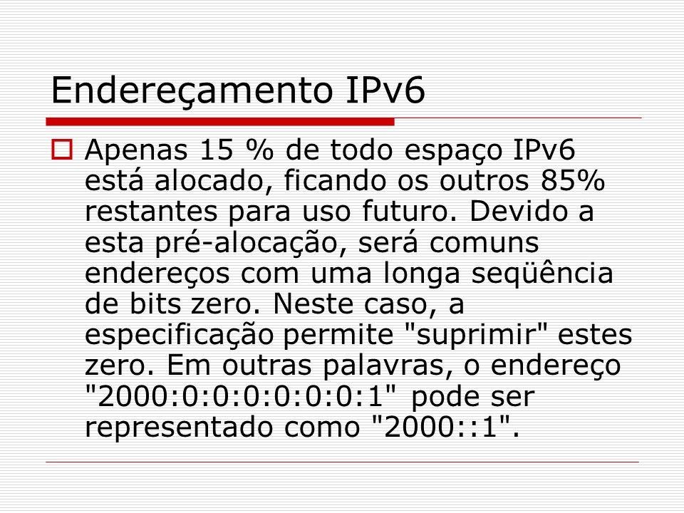 Cabeçalho Embora o tamanho do endereço IPv6 seja quatro vezes maior que o IPv4, o seu cabeçalho é apenas duas vezes maior.