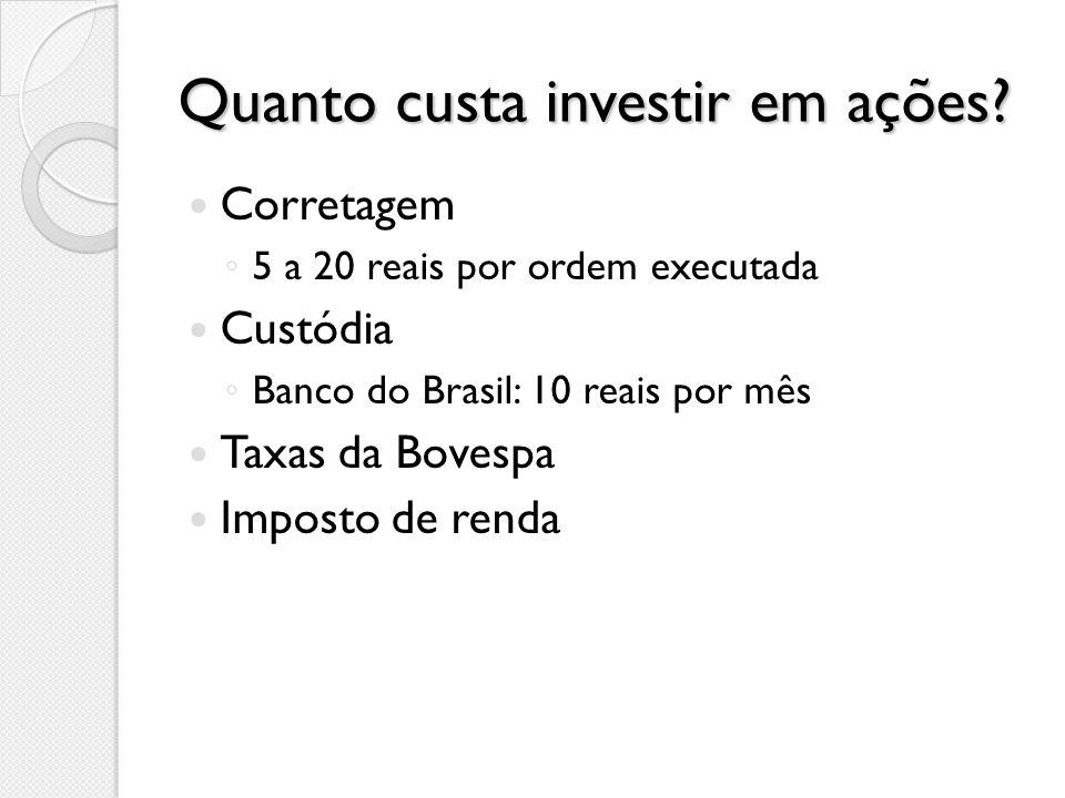 Quanto custa investir em ações.
