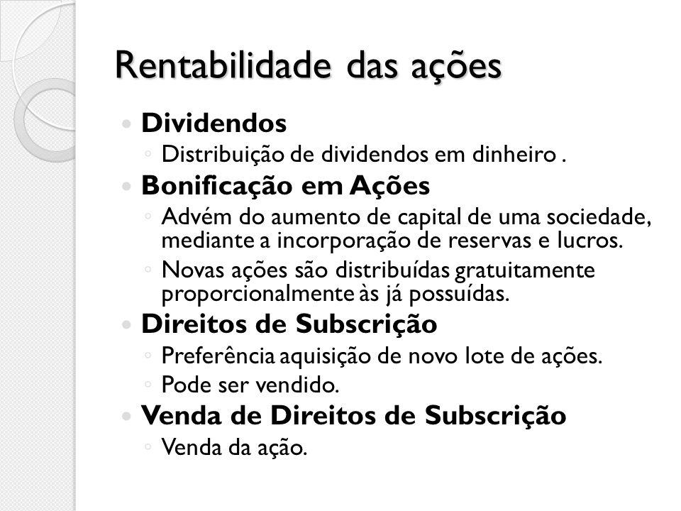 Rentabilidade das ações Dividendos Distribuição de dividendos em dinheiro.