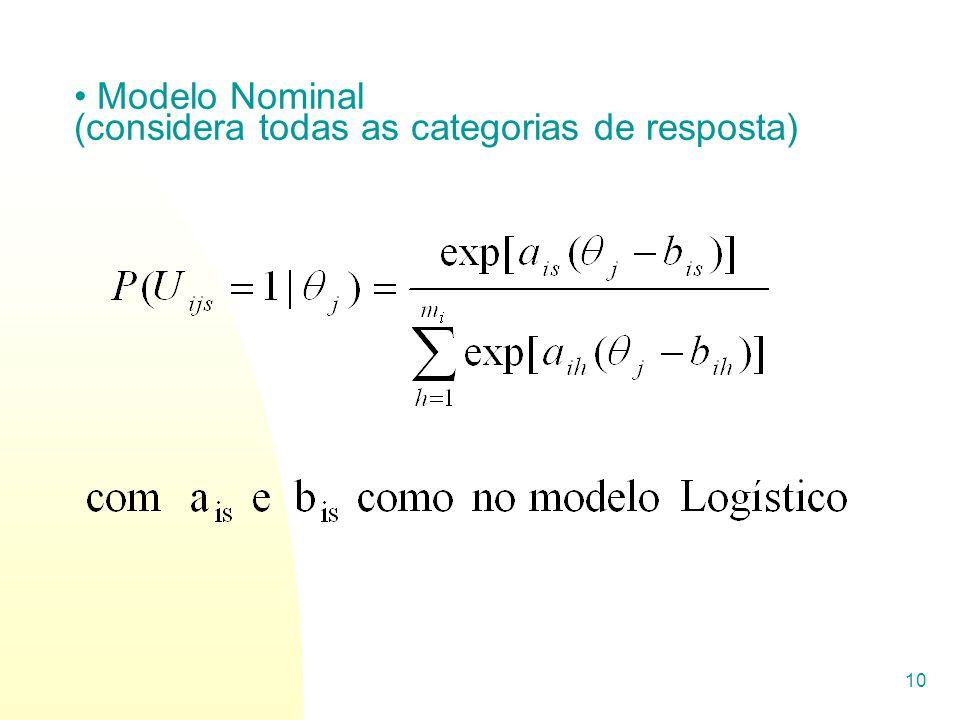 10 Modelo Nominal (considera todas as categorias de resposta)