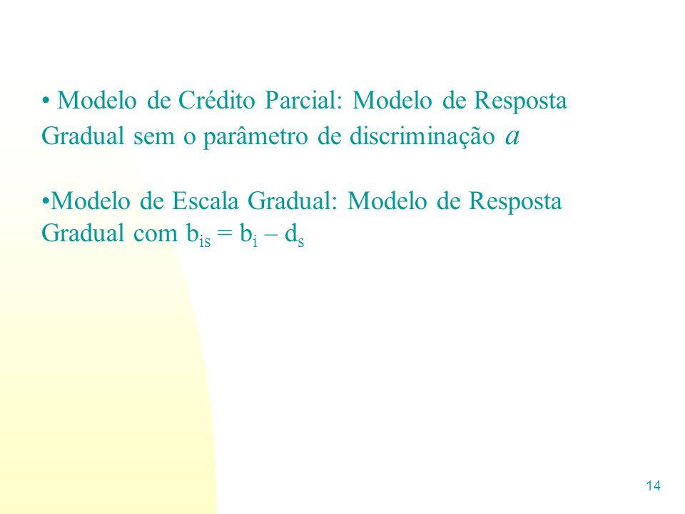 14 Modelo de Crédito Parcial: Modelo de Resposta Gradual sem o parâmetro de discriminação a Modelo de Escala Gradual: Modelo de Resposta Gradual com b