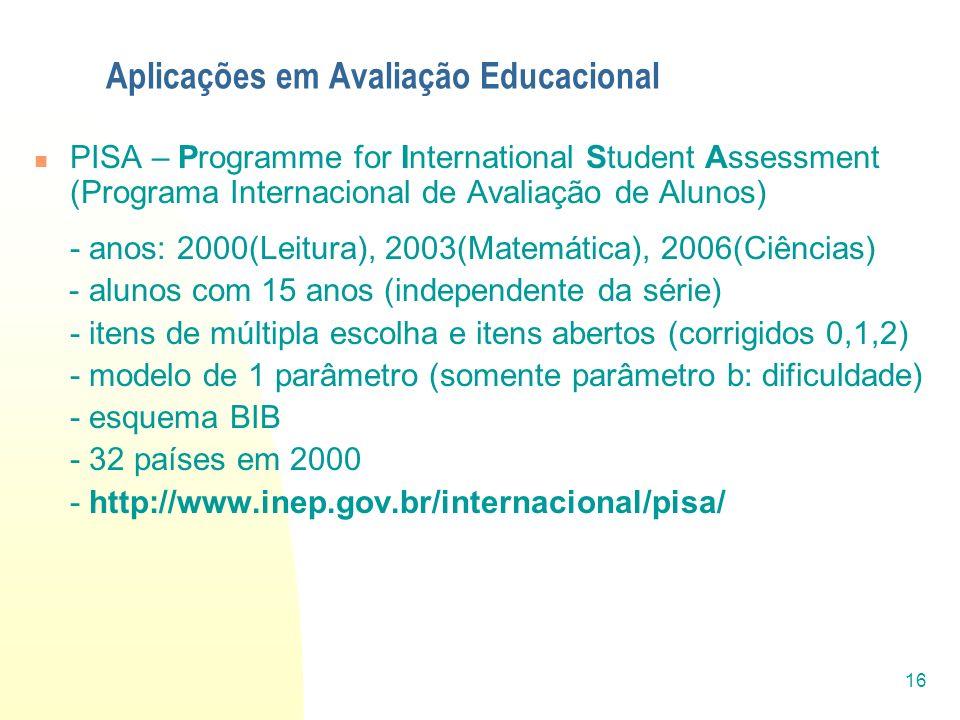 16 Aplicações em Avaliação Educacional PISA – Programme for International Student Assessment (Programa Internacional de Avaliação de Alunos) - anos: 2