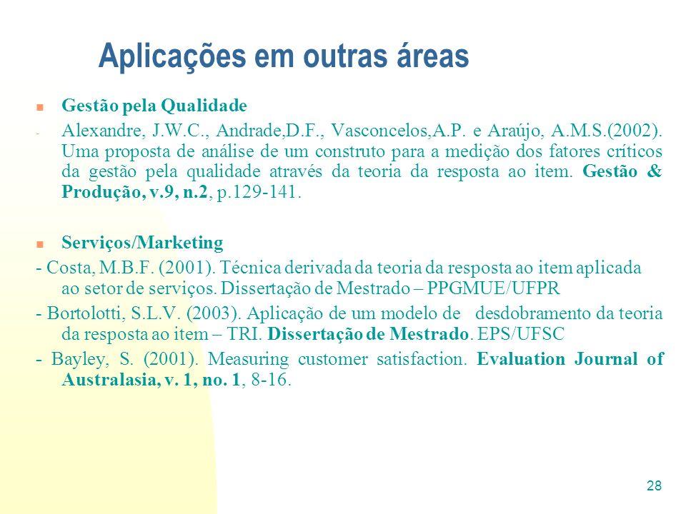 28 Aplicações em outras áreas Gestão pela Qualidade - Alexandre, J.W.C., Andrade,D.F., Vasconcelos,A.P. e Araújo, A.M.S.(2002). Uma proposta de anális