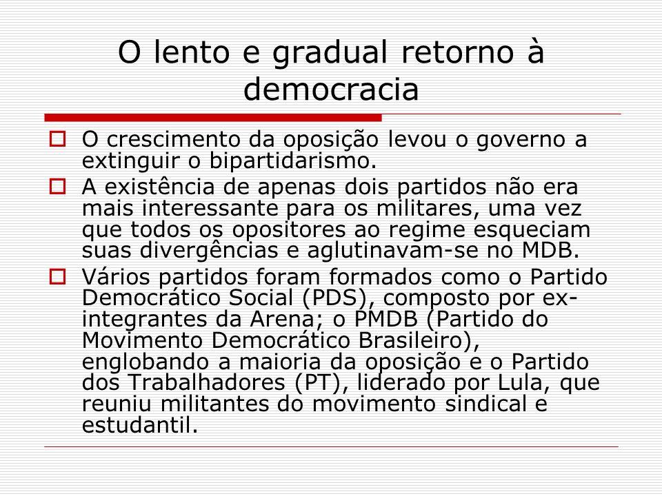 O lento e gradual retorno à democracia O crescimento da oposição levou o governo a extinguir o bipartidarismo. A existência de apenas dois partidos nã
