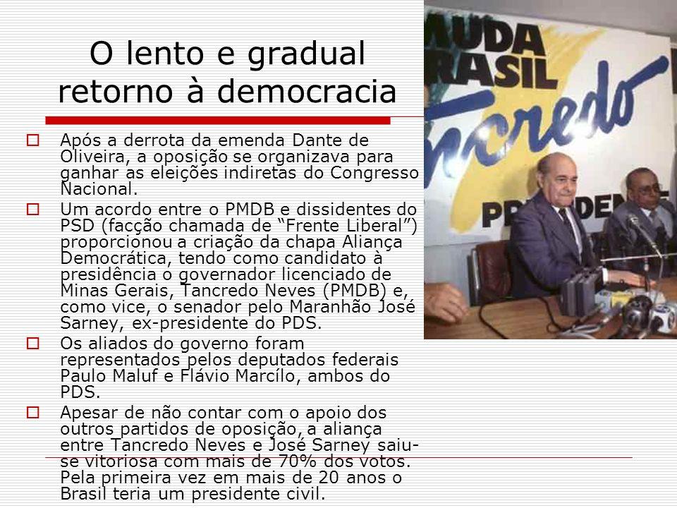 O lento e gradual retorno à democracia Após a derrota da emenda Dante de Oliveira, a oposição se organizava para ganhar as eleições indiretas do Congr