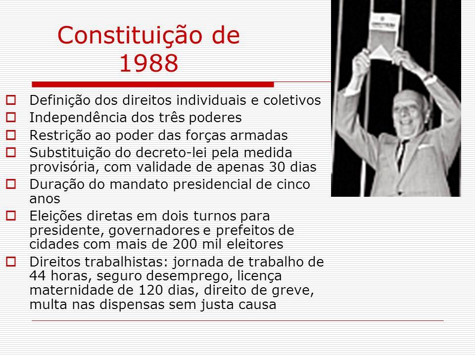 Constituição de 1988 Definição dos direitos individuais e coletivos Independência dos três poderes Restrição ao poder das forças armadas Substituição