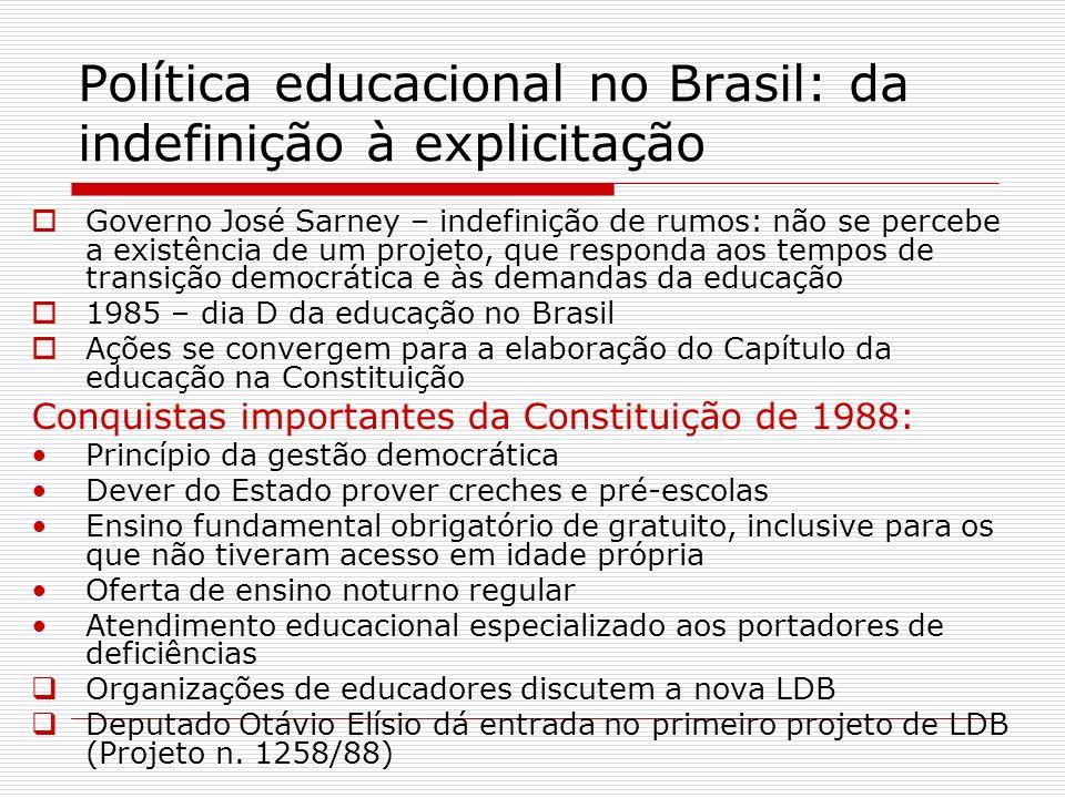 Política educacional no Brasil: da indefinição à explicitação Governo José Sarney – indefinição de rumos: não se percebe a existência de um projeto, q