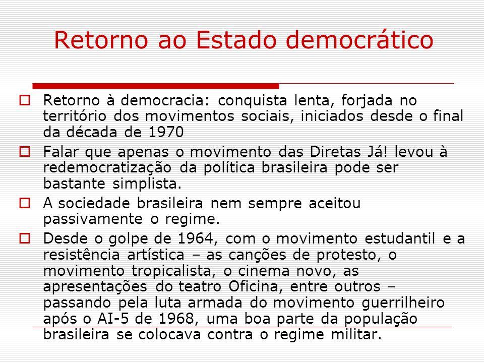 Retorno ao Estado democrático Retorno à democracia: conquista lenta, forjada no território dos movimentos sociais, iniciados desde o final da década d