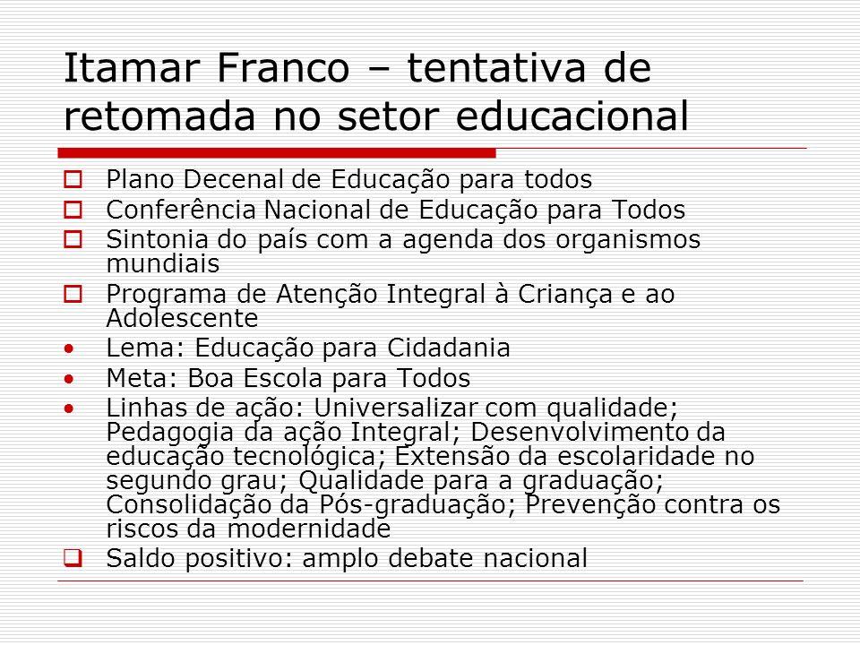 Itamar Franco – tentativa de retomada no setor educacional Plano Decenal de Educação para todos Conferência Nacional de Educação para Todos Sintonia d