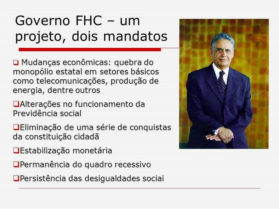 Governo FHC – um projeto, dois mandatos Mudanças econômicas: quebra do monopólio estatal em setores básicos como telecomunicações, produção de energia