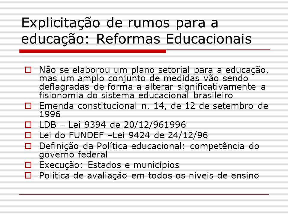 Explicitação de rumos para a educação: Reformas Educacionais Não se elaborou um plano setorial para a educação, mas um amplo conjunto de medidas vão s