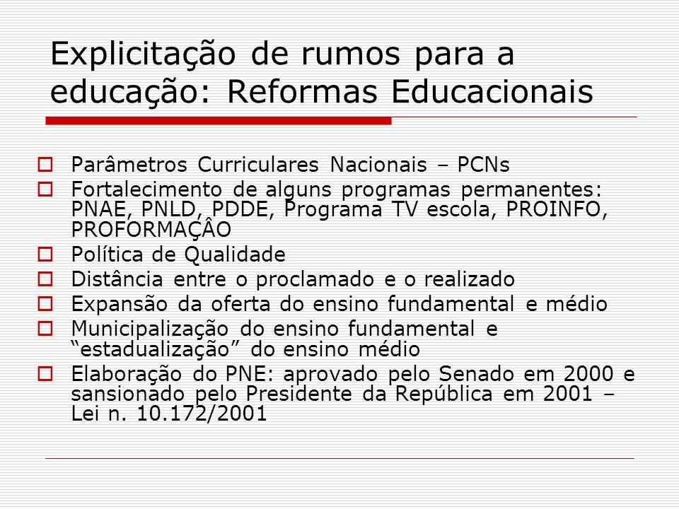 Explicitação de rumos para a educação: Reformas Educacionais Parâmetros Curriculares Nacionais – PCNs Fortalecimento de alguns programas permanentes: