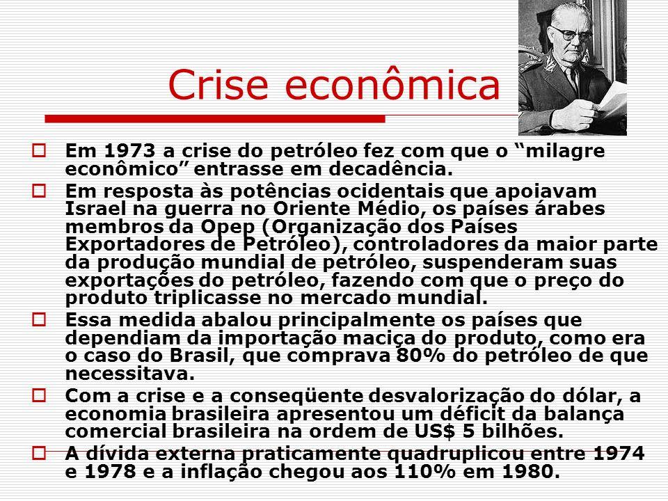 Crise econômica Em 1973 a crise do petróleo fez com que o milagre econômico entrasse em decadência. Em resposta às potências ocidentais que apoiavam I