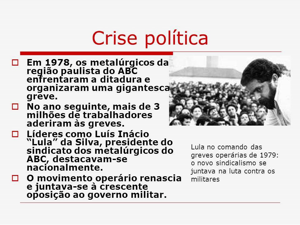 Crise política Em 1978, os metalúrgicos da região paulista do ABC enfrentaram a ditadura e organizaram uma gigantesca greve. No ano seguinte, mais de
