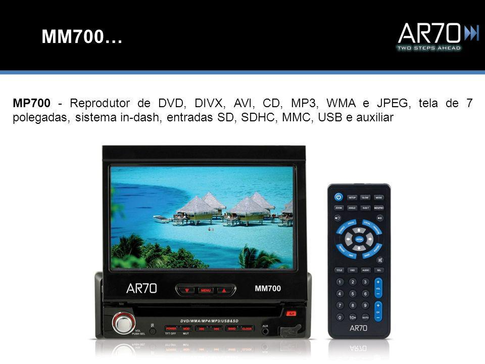MM700… MP700 - Reprodutor de DVD, DIVX, AVI, CD, MP3, WMA e JPEG, tela de 7 polegadas, sistema in-dash, entradas SD, SDHC, MMC, USB e auxiliar