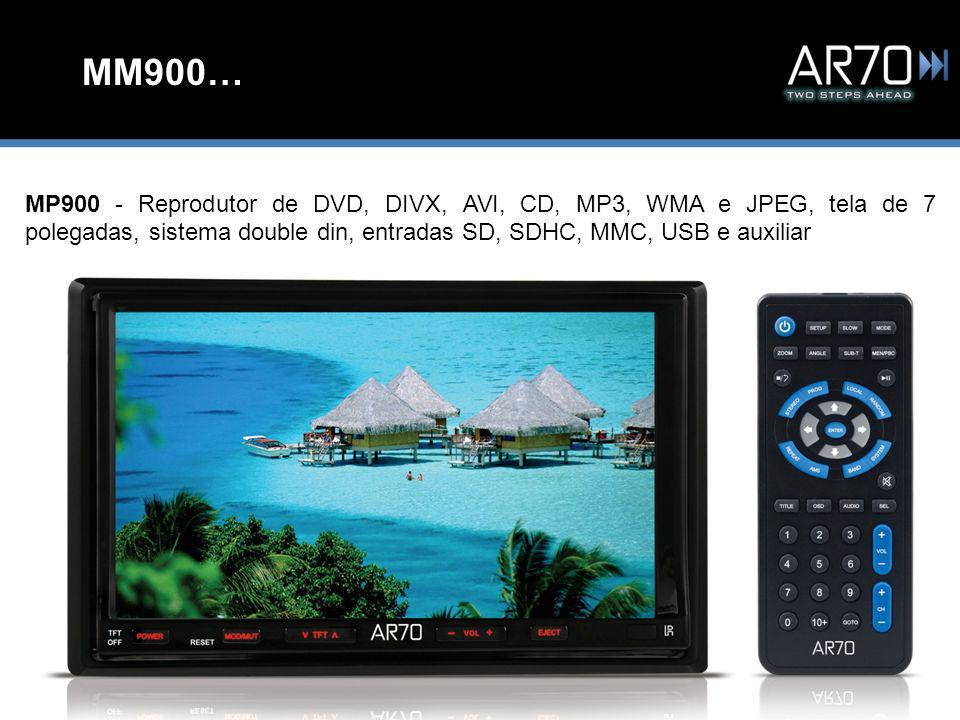 MM900… MP900 - Reprodutor de DVD, DIVX, AVI, CD, MP3, WMA e JPEG, tela de 7 polegadas, sistema double din, entradas SD, SDHC, MMC, USB e auxiliar