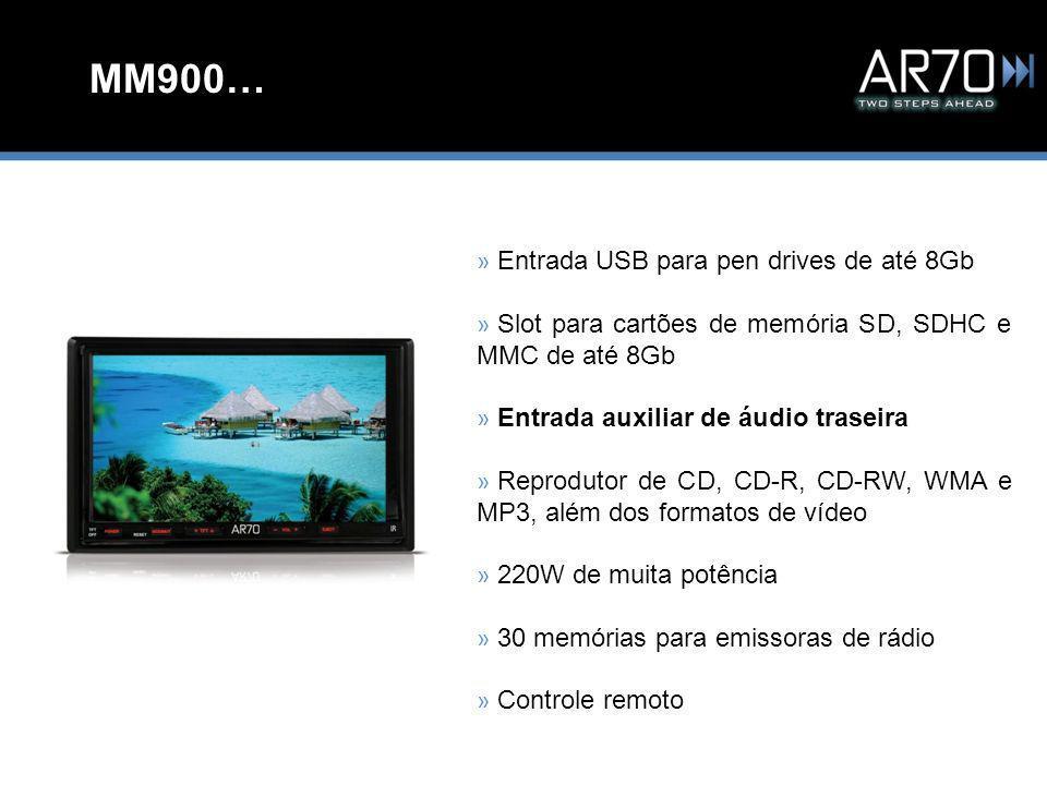 MM900… » Entrada USB para pen drives de até 8Gb » Slot para cartões de memória SD, SDHC e MMC de até 8Gb » Entrada auxiliar de áudio traseira » Reprodutor de CD, CD-R, CD-RW, WMA e MP3, além dos formatos de vídeo » 220W de muita potência » 30 memórias para emissoras de rádio » Controle remoto
