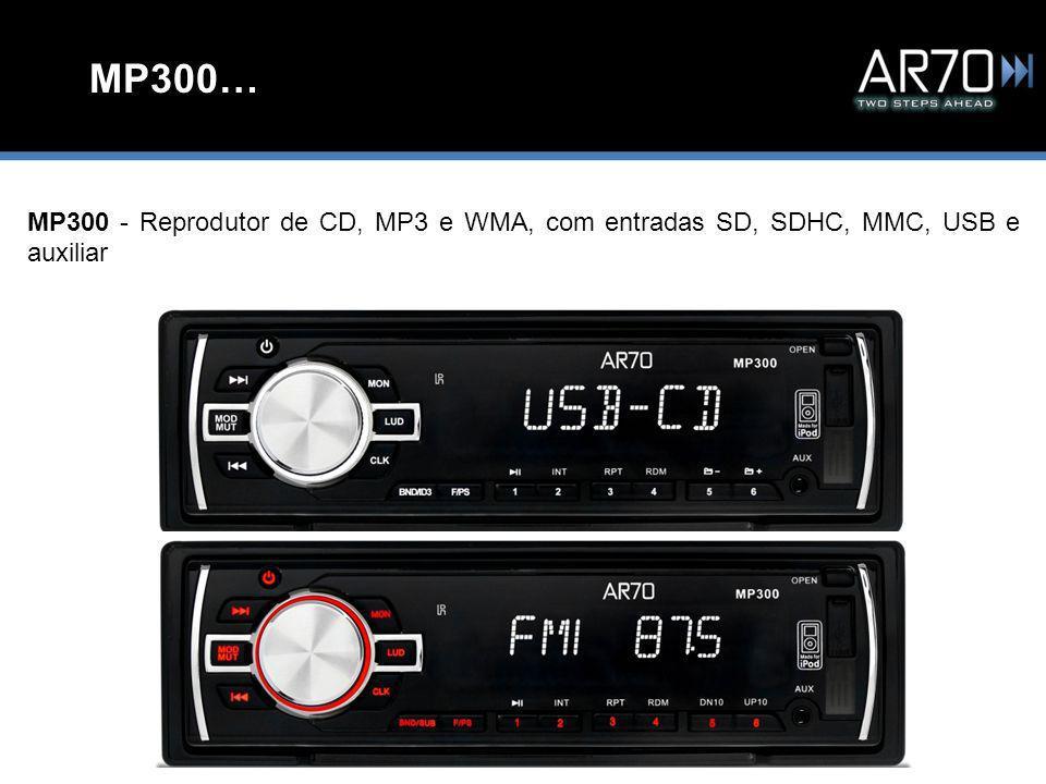 MP300… MP300 - Reprodutor de CD, MP3 e WMA, com entradas SD, SDHC, MMC, USB e auxiliar