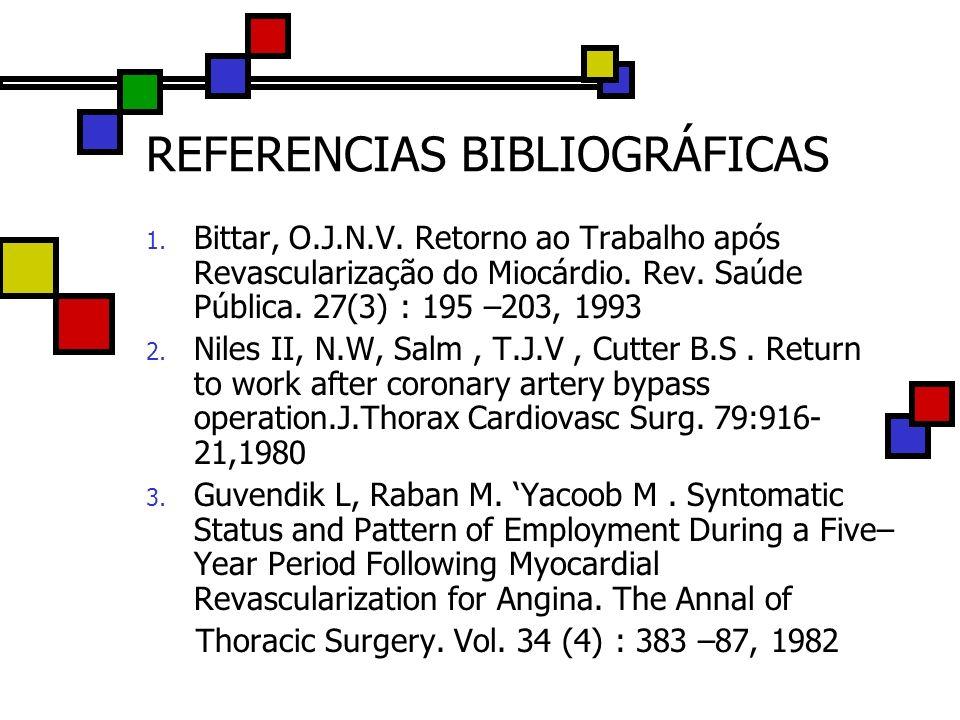 REFERENCIAS BIBLIOGRÁFICAS 1. Bittar, O.J.N.V. Retorno ao Trabalho após Revascularização do Miocárdio. Rev. Saúde Pública. 27(3) : 195 –203, 1993 2. N