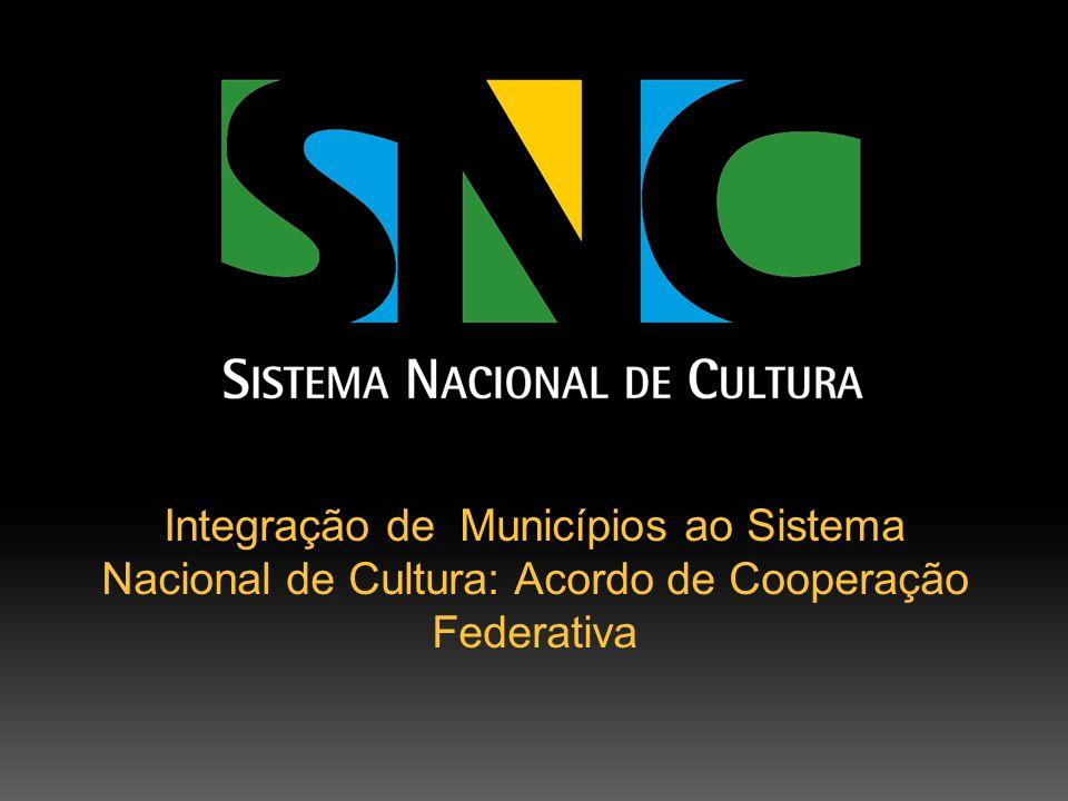 O que é o Acordo de Cooperação Federativa?Acordo de Cooperação Federativa Instrumento assinado entre a União, por intermédio da Secretaria de Articulação Institucional do Ministério da Cultura, e os Municípios, que estabelece compromissos para o desenvolvimento do SNC.