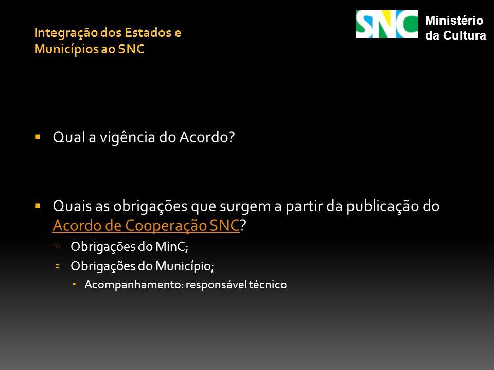Qual a vigência do Acordo? Quais as obrigações que surgem a partir da publicação do Acordo de Cooperação SNC? Acordo de Cooperação SNC Obrigações do M